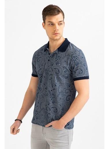Avva Erkek  Polo Yakalı Baskılı Tişört A01S1218 İndigo